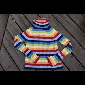 🌿Vintage 90s Striped Rainbow Turtleneck Sweater